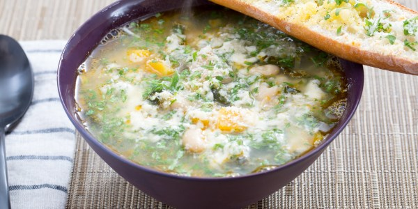 Butternut Squash and Kale Minestrone with Horseradish Gremolata and Parmesan Toast