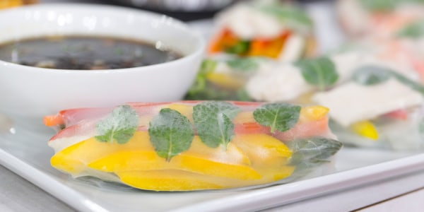 Chicken and Shrimp Summer Rolls with Tamari-Ginger Dipping Sauce
