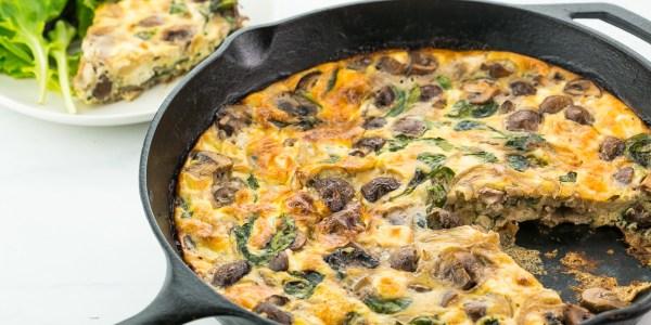 Baby Kale, Mushroom and Feta Frittata
