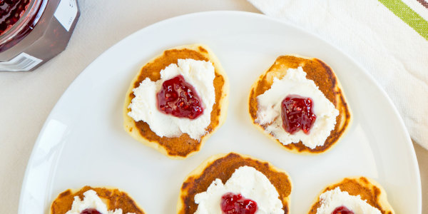 Lemon Ricotta Pancake 'Blini' with Jam and Cream Cheese