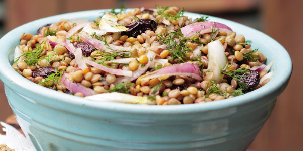 Lentil Salad with Fennel, Onions and Lots of Herbs