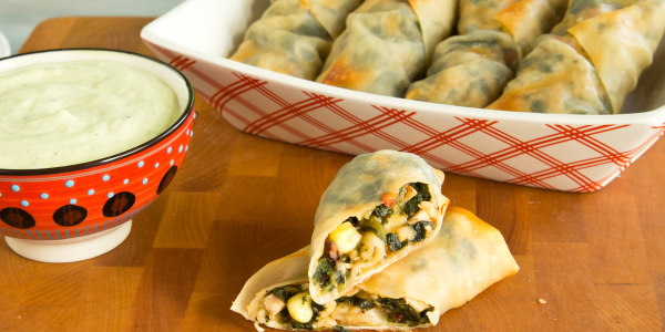 Baked Southwestern Egg Rolls with Avocado-Ranch Dip