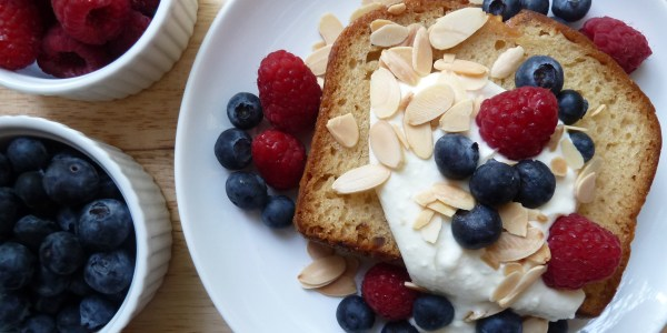 Pound Cake with Ricotta Cream, Fresh Berries and Toasted Almonds
