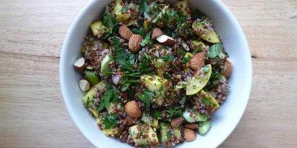 Quinoa Salad with Summer Squash, Scallions, and Almonds