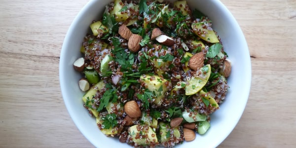 Quinoa Salad with Summer Squash, Scallions, and Almonds