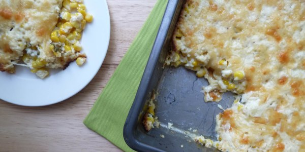 Fresh corn and roasted poblano pepper pudding