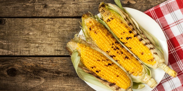 Grilled Corn with Ranch Dressing and Ham & Pepper Relish