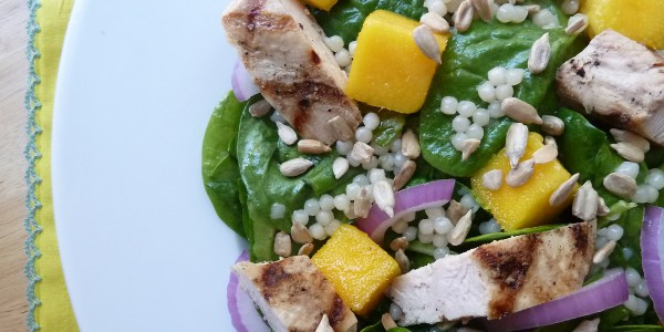 Pearl Couscous with Mango, Chicken and Spinach