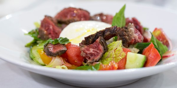 Grilled Skirt Steak Salad with Grilled Hearts of Palm