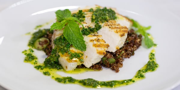 Grilled Swordfish Steaks with Mediterranean Quinoa Salad and Citrus Gremolata