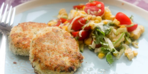 Tilapia Fish Cakes with Corn-Tomato Salad