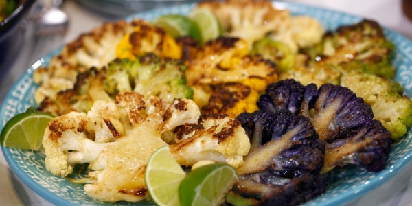 Cauliflower Steaks with Lime Yogurt