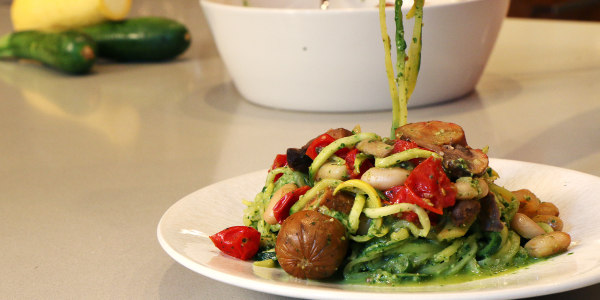 Natalie's Zucchini 'Pasta' with Pesto