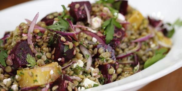 Roasted Beet, Feta and Lentil Salad