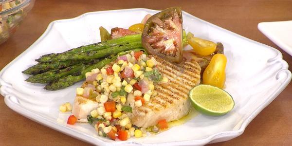 Grilled swordfish with corn relish