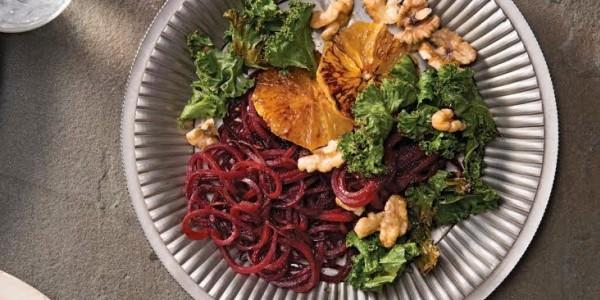 Beet Pasta with Blood Orange, Honey Walnuts, and Crispy Kale