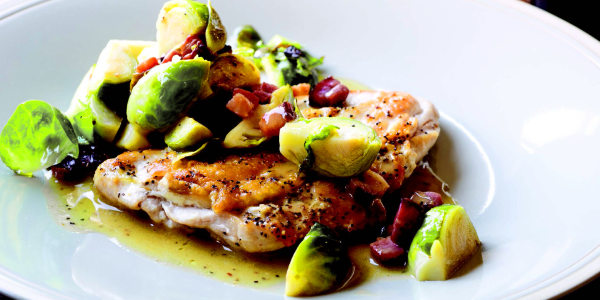 5-Minute Chicken Breasts with Bacon & Brussels Sprouts