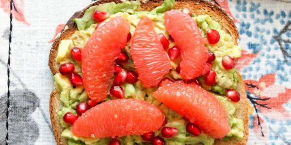 Avocado Toast With Grapefruit and Pomegranate Seeds
