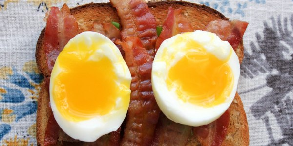 Bacon and Soft-Boiled Egg Toast with Scallions