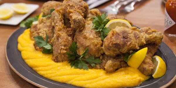 Grandma's Sweet Tea-Brined Fried Chicken with Butternut Squash Puree