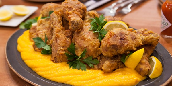 Grandma's Sweet Tea-Brined Fried Chicken with Butternut Squash Puree