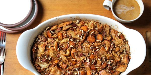 Gooey caramel pumpkin bread pudding