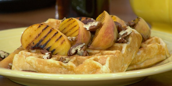 Peaches and Cream Buttermilk Waffles