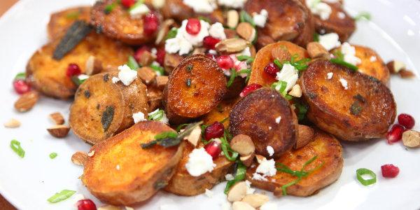 Roast Sweet Potatoes with Feta, Almonds & Pomegranate