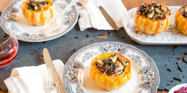 Mushroom and Kale-Stuffed Squash