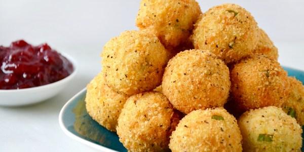 Cheesy Leftover Turkey and Mashed Potato Bites