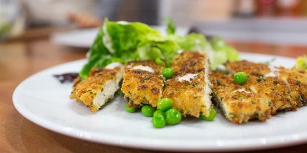 Chicken Schnitzel with Little Gem and Pea Caesar Salad