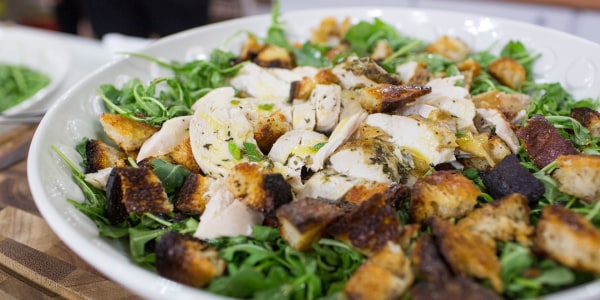 Roast Chicken Over Bread and Arugula Salad