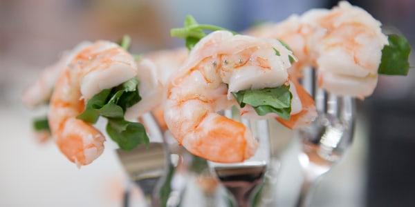 Shrimp Salad with Candied Ginger on a Fork