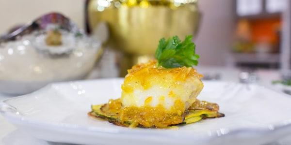 Sea Bass with Potato-Zucchini Pancake and Marmalade Sauce