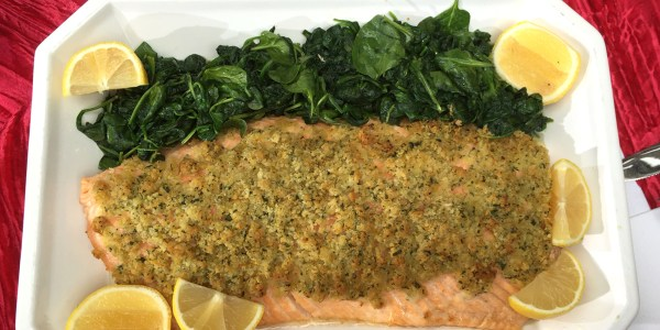 Fast and Easy Lemon-Crusted Salmon with Garlic Spinach