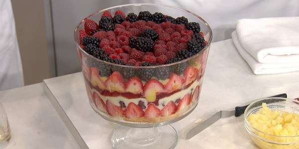 English trifle with homemade lemon curd and whipped cream