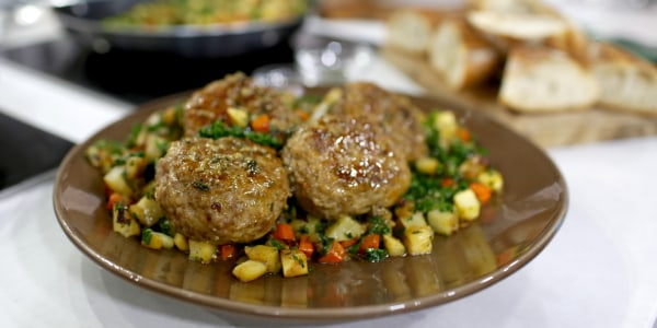 "Pork ""Country"" Meatballs with Roasted Potato Hash"
