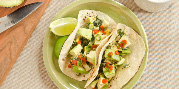 Avocado, Spinach and Egg Breakfast Tacos