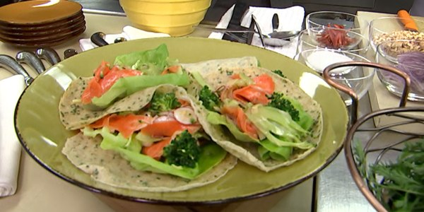 Shaved Broccoli Salad with Chive Crêpes
