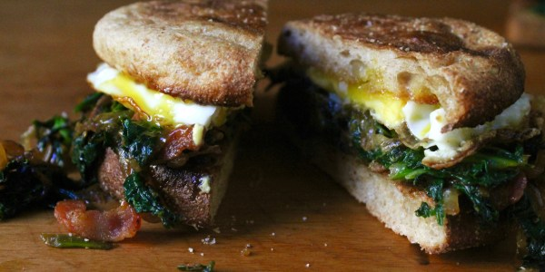 5-Ingredient Bacon, Greens and Egg Breakfast Sandwich