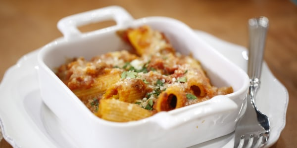 Baked Rigatoni with Italian Sausage, Peppers and Onions