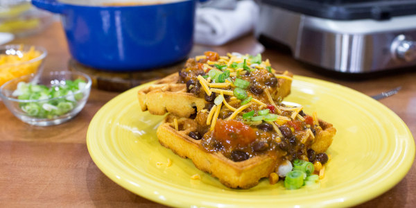 Cornbread Waffles with Chili and Cheese