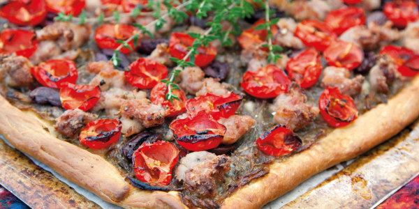 Sausage, Tomato and Olive French-Style Pizzas