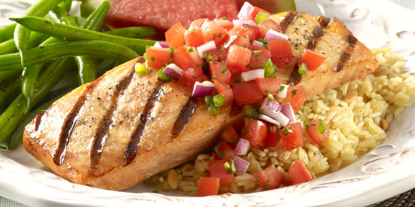 Seared Salmon with Wheat Berry and Avocado Salad