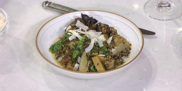 Braised Chicken with Quinoa, Shiitake Mushrooms and Greens
