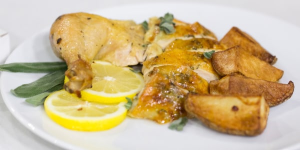5-Ingredient Roast Chicken with Potatoes and Sage Butter