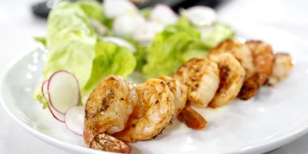Grilled Shrimp with Spiced Yogurt Sauce, Spring Radish Salad