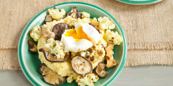 Polenta with Roasted Cauliflower, Mushrooms, and Poached Egg