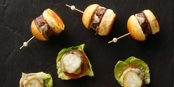 Mini Burgers with Aged Cheddar on Brioche Buns