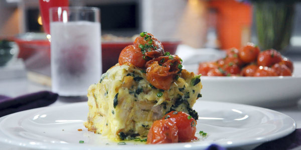 Caramelized Onion, Spinach & Gruyere Strata with Tomatoes